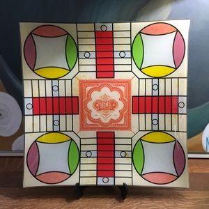 Parcheesi Glass Game Board Platter